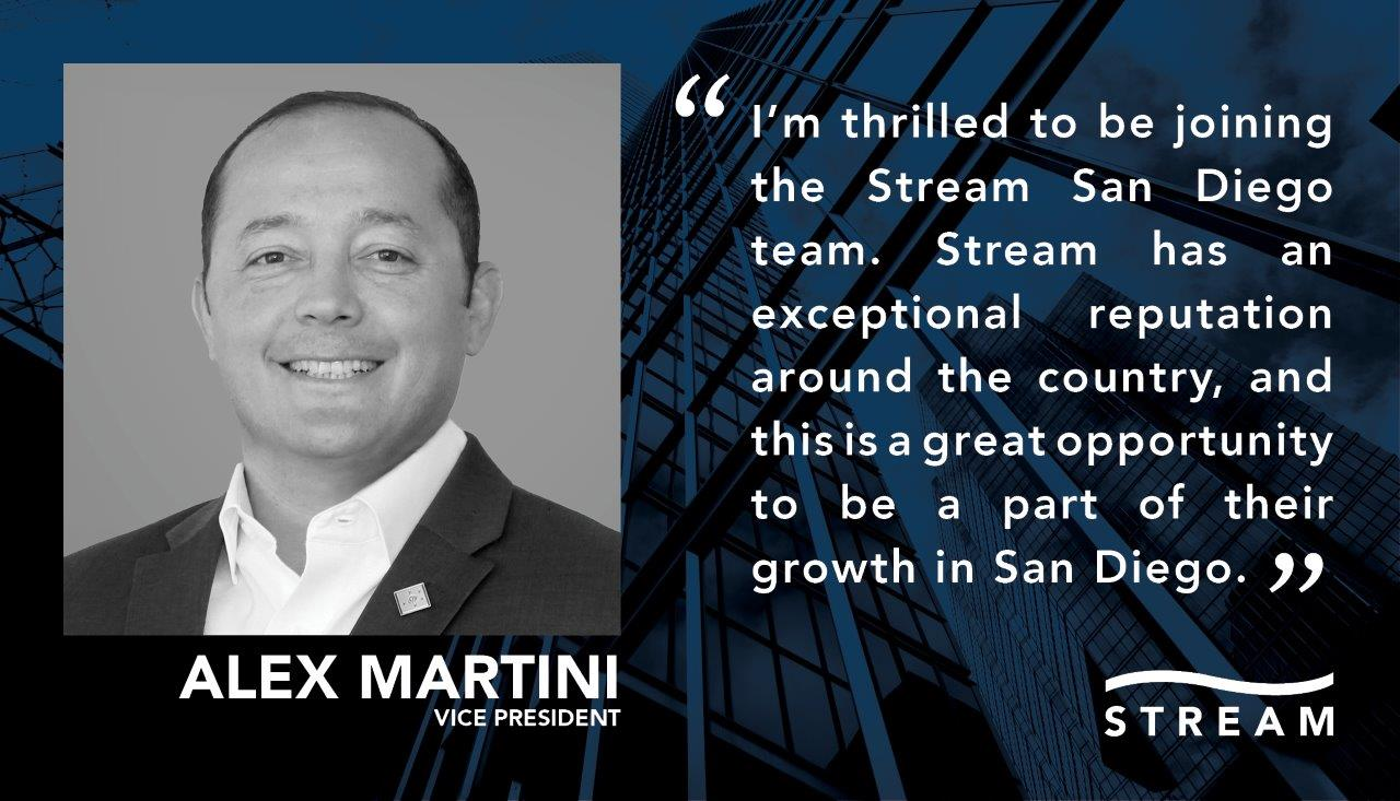 Stream San Diego Expands Tenant Representation Platform with the Hiring of Alex Martini as Vice President - Stream Realty Partners