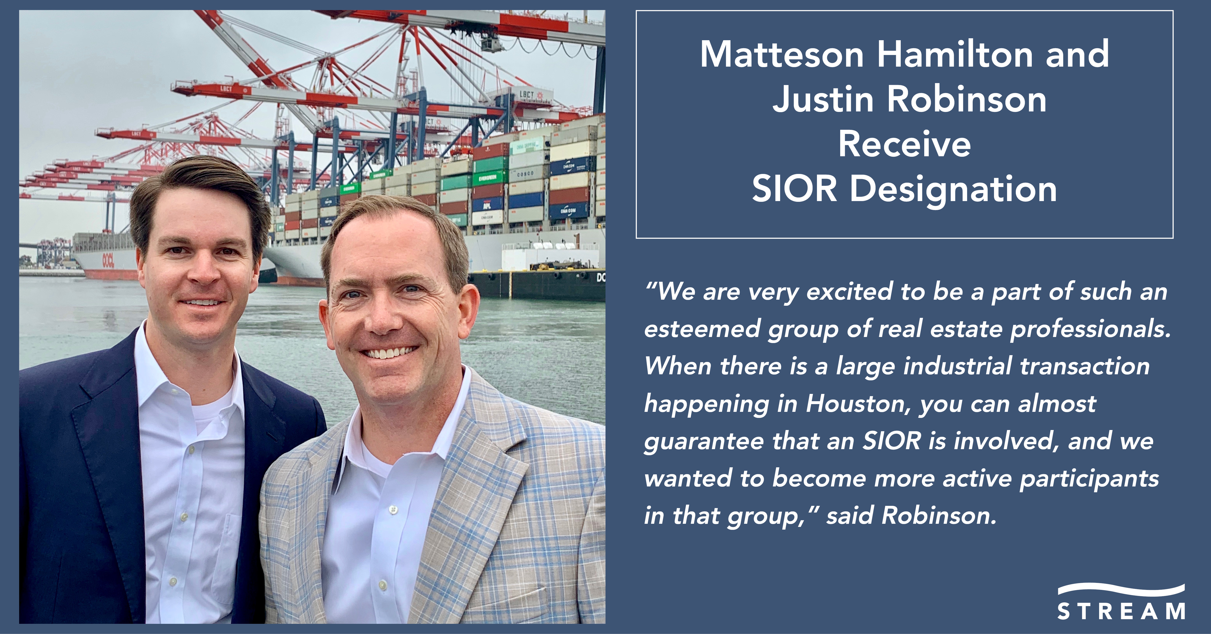 67a7a749 HOUSTON, TX (June 7, 2019) – Stream Realty Partners (Stream) is proud to  announce that Matteson Hamilton and Justin Robinson, Partners at Stream, ...
